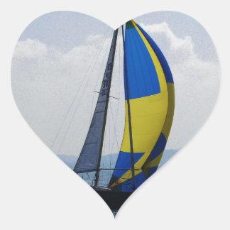 Small yacht big spinnaker. heart sticker