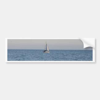 Small Yacht Offshore. Car Bumper Sticker