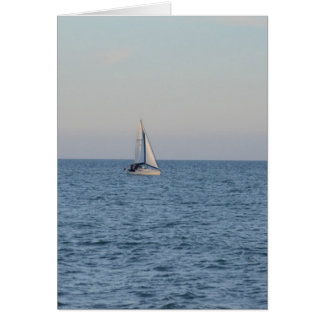 Small Yacht Offshore. Greeting Card