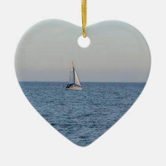 Small Yacht Offshore. Ceramic Ornament