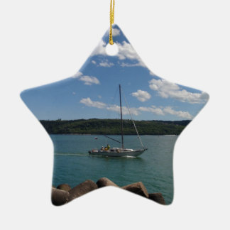 Small Yacht Returning To Port Ceramic Ornament