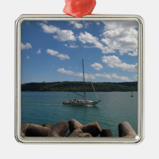 Small Yacht Returning To Port Metal Ornament