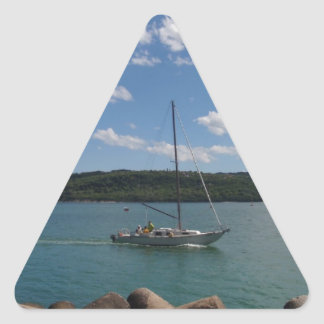 Small Yacht Returning To Port Triangle Sticker