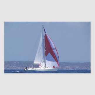 Small Yacht Setting A Spinnaker Rectangle Stickers