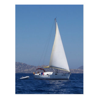 Small Yacht Under Genoa Postcard