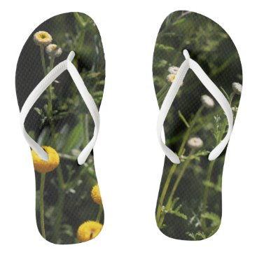 Beach Themed Small yellow and white flowers Flip Flops