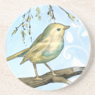 Small Yellow Bird Perched on a Branch Looking up Beverage Coasters