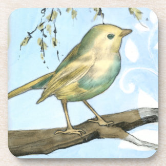Small Yellow Bird Perched on a Branch Looking up Drink Coaster