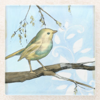 Small Yellow Bird Perched on a Branch Looking up Glass Coaster