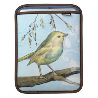 Small Yellow Bird Perched on a Branch Looking up Sleeve For iPads