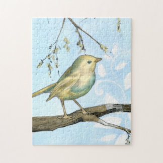 Small Yellow Bird Perched on a Branch Looking up Jigsaw Puzzle