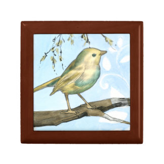 Small Yellow Bird Perched on a Branch Looking up Keepsake Box