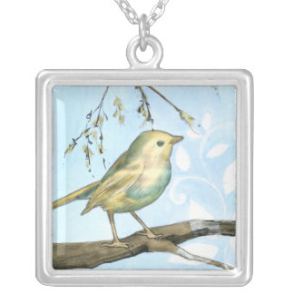 Small Yellow Bird Perched on a Branch Looking up Silver Plated Necklace