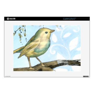 Small Yellow Bird Perched on a Branch Looking up Skins For Laptops