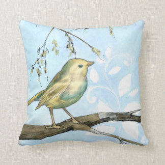 Small Yellow Bird Perched on a Branch Looking up Throw Pillow