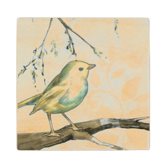 Small Yellow Bird Perched on a Branch Looking up Wood Coaster