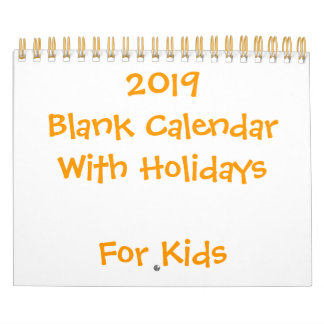 Small Yellow Blank Calendar 2019 For Kids