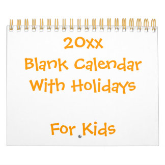 Small Yellow Blank Calendar For Kids