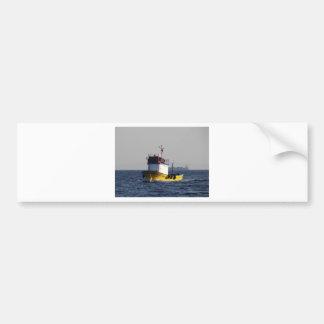 Small Yellow Fishing Boat Bumper Sticker