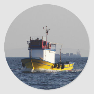 Small Yellow Fishing Boat Classic Round Sticker