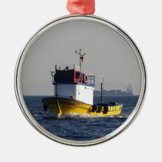 Small Yellow Fishing Boat Metal Ornament