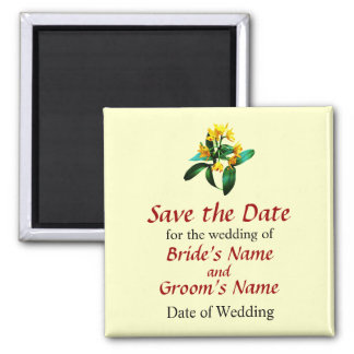Small Yellow Orchids 2 Inch Square Magnet