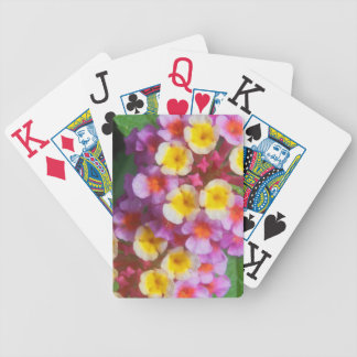 Small Yellow Pink and Purple Tropical Flowers Bicycle Playing Cards