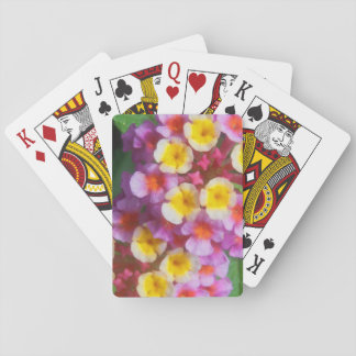 Small Yellow Pink and Purple Tropical Flowers Deck Of Cards