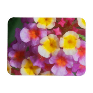 Small Yellow Pink and Purple Tropical Flowers Magnet