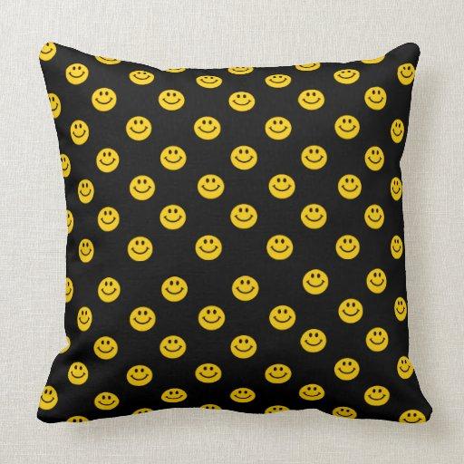 Small Yellow Smiley Faces pattern black cushion Throw Pillow Zazzle