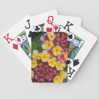 Small Yellow Tropical Flowers With Pink Buds Bicycle Playing Cards