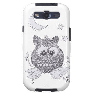 Small zentangle owl with moon galaxy SIII cover