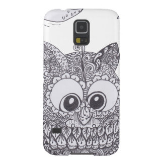 Small zentangle owl with moon cases for galaxy s5