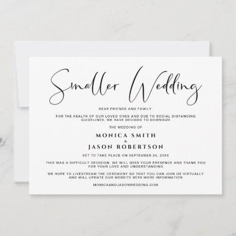 Smaller Downsized Wedding Change of Plans Elegant Announcement