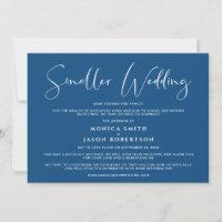 Smaller Downsized Wedding Elegant Classic Blue Announcement