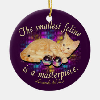 Smallest Feline Double-Sided Ceramic Round Christmas Ornament