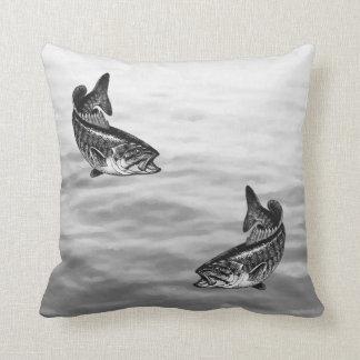 Smallmouth Bass Fishing Throw Pillow