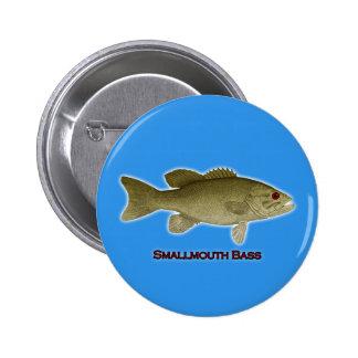 Smallmouth Bass Illustration - (blue background) Pinback Button