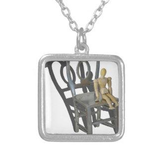 SmallPersonBigChair012915 Square Pendant Necklace