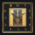 """Smart Art Deco Square Wall Clock<br><div class=""""desc"""">I have created another smart looking art deco wall clock with a very art deco center piece. This clock is sophisticated and smart and would look great on a wall in your home. This square wall clock measures 10 inches. A super clock for all art deco lovers.</div>"""