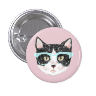Smart Black & White Cat Wearing Glasses Pinback Button