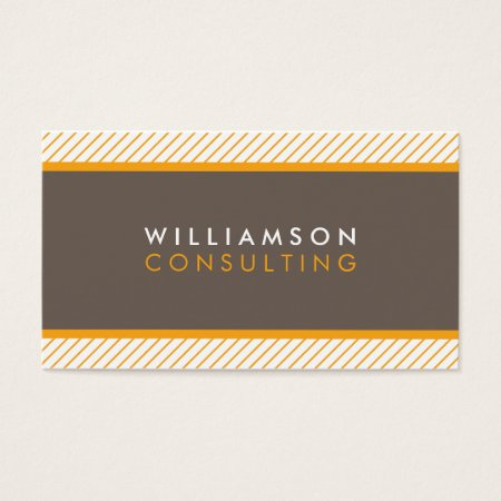 Modern Trendy Brown and Orange Diagonal Stripes Financial Accountant Consultant Business Cards