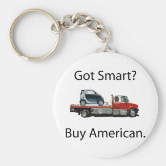 Smart Car Buy American Basic Round Button Keychain