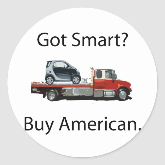 Smart Car Buy American Classic Round Sticker