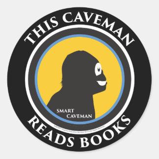 Smart Caveman Stickers: This Caveman Reads Books Classic Round Sticker