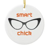 Smart Chick Geek Eyeglasses Ceramic Ornament