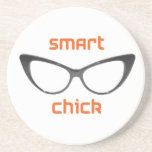 Smart Chick Geek Eyeglasses Drink Coasters