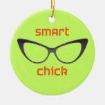 Smart Chick Geek Eyeglasses Ornament