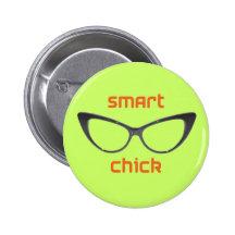 Smart Chick Geek Eyeglasses Pinback Button