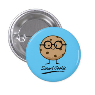 Smart Cookie Chocolate Chip Cookies Glasses Button